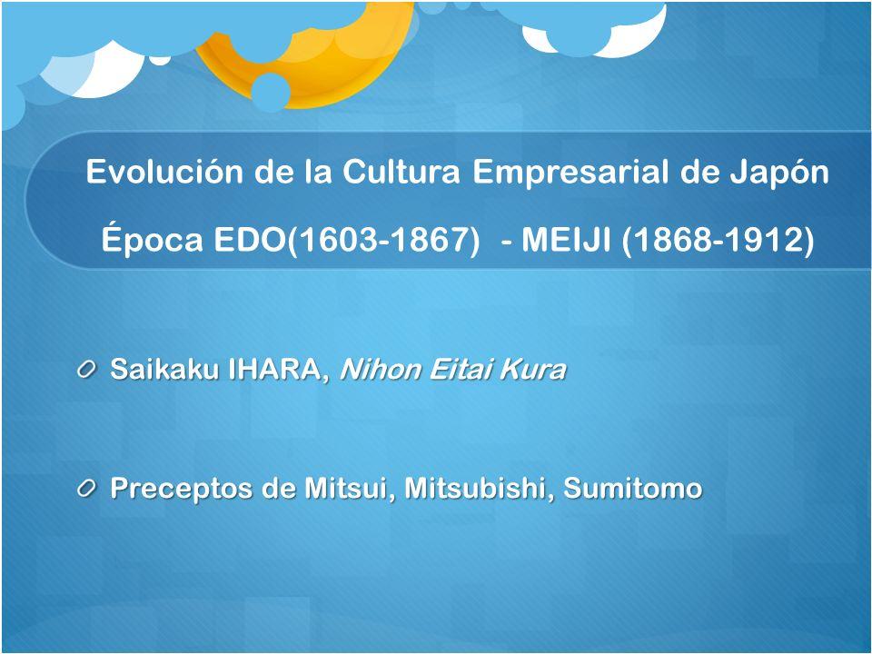 Saikaku IHARA, Nihon Eitai Kura Preceptos de Mitsui, Mitsubishi, Sumitomo Evolución de la Cultura Empresarial de Japón Época EDO(1603-1867) - MEIJI (1868-1912)
