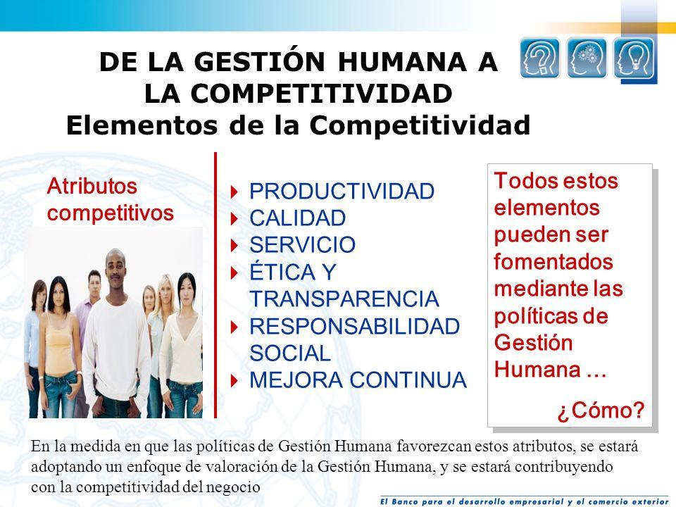 La empresa competitiva … Es altamente productiva. Ofrece calidad. Ofrece excelencia en servicio al cliente interno y externo. Valora la ética y la tra
