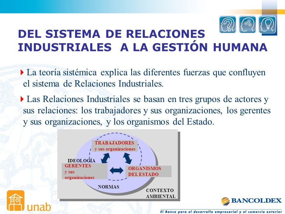 DEL SISTEMA DE RELACIONES INDUSTRIALES A LA GESTIÓN HUMANA La teoría sistémica explica las diferentes fuerzas que confluyen el sistema de Relaciones Industriales.