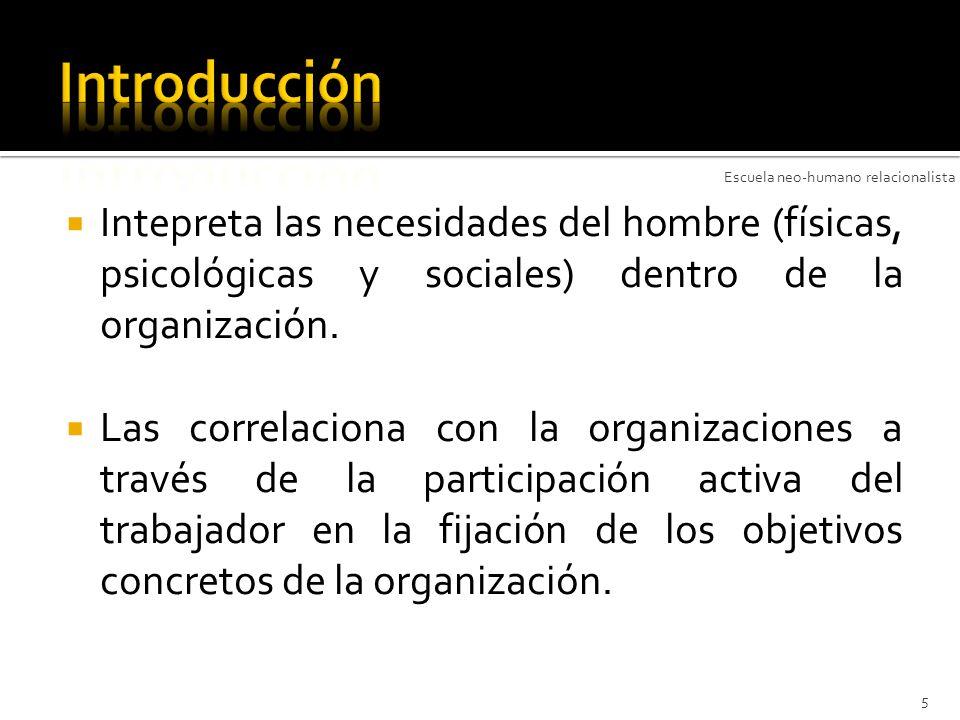 Intepreta las necesidades del hombre (físicas, psicológicas y sociales) dentro de la organización. Las correlaciona con la organizaciones a través de