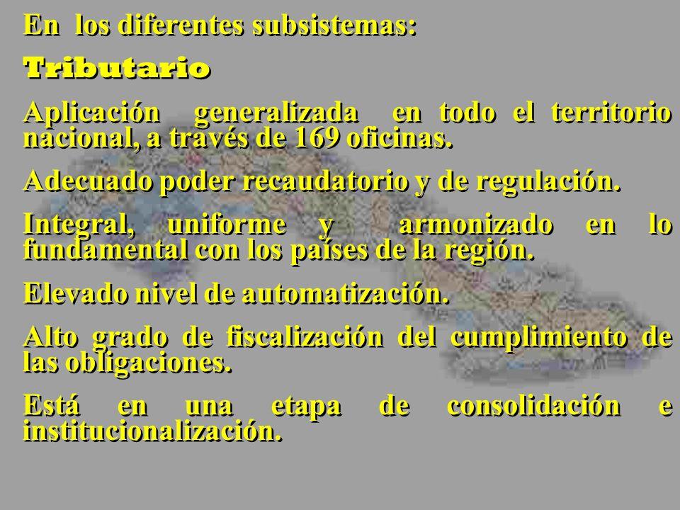 En los diferentes subsistemas: Tributario Aplicación generalizada en todo el territorio nacional, a través de 169 oficinas.