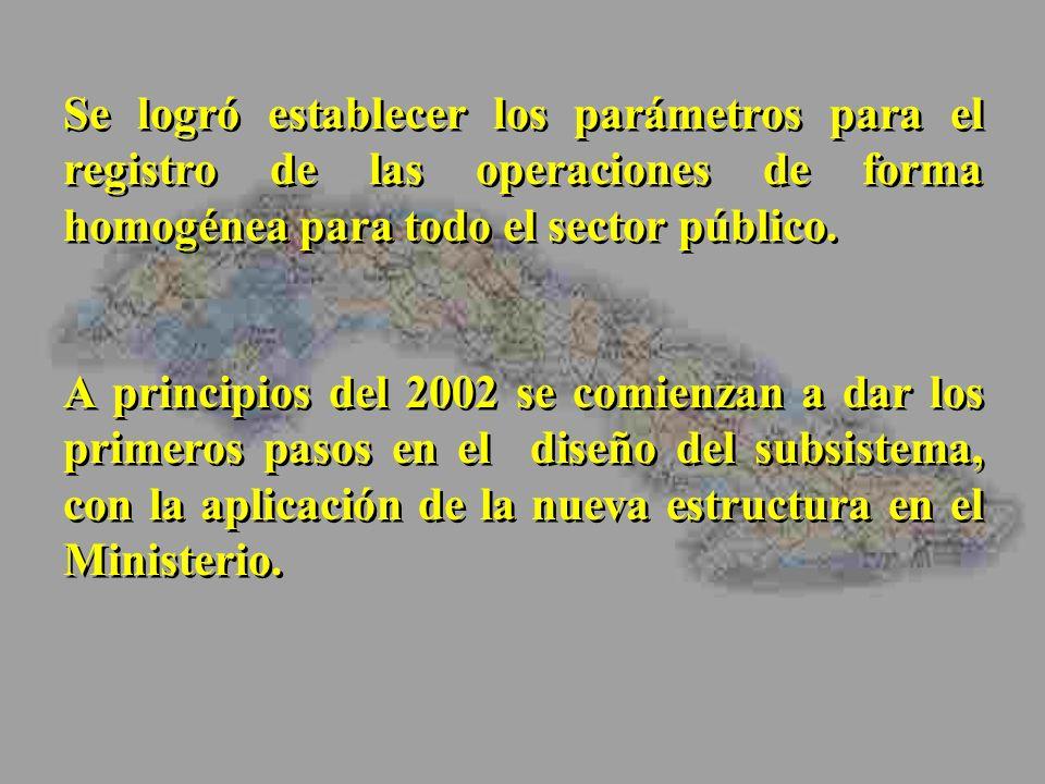 Se logró establecer los parámetros para el registro de las operaciones de forma homogénea para todo el sector público. A principios del 2002 se comien