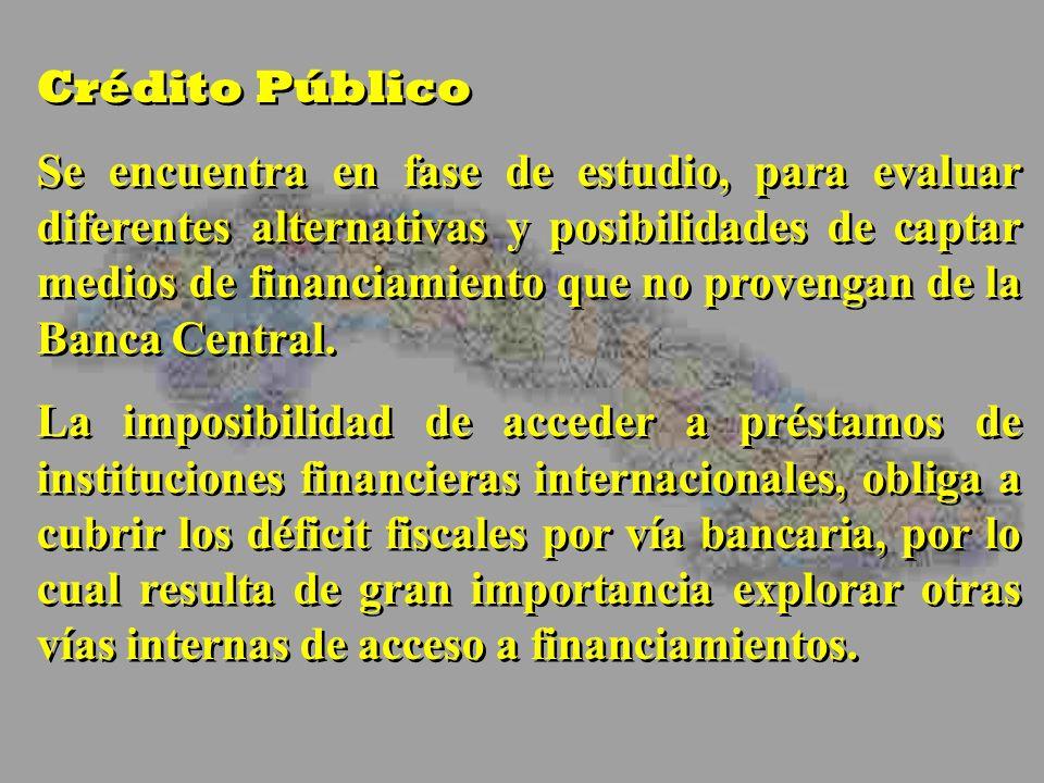 Crédito Público Se encuentra en fase de estudio, para evaluar diferentes alternativas y posibilidades de captar medios de financiamiento que no provengan de la Banca Central.