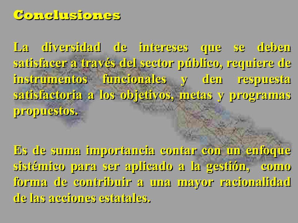 Conclusiones La diversidad de intereses que se deben satisfacer a través del sector público, requiere de instrumentos funcionales y den respuesta sati