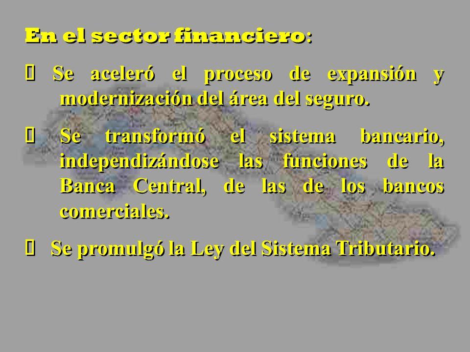 En el sector financiero : Se aceleró el proceso de expansión y modernización del área del seguro. Se transformó el sistema bancario, independizándose