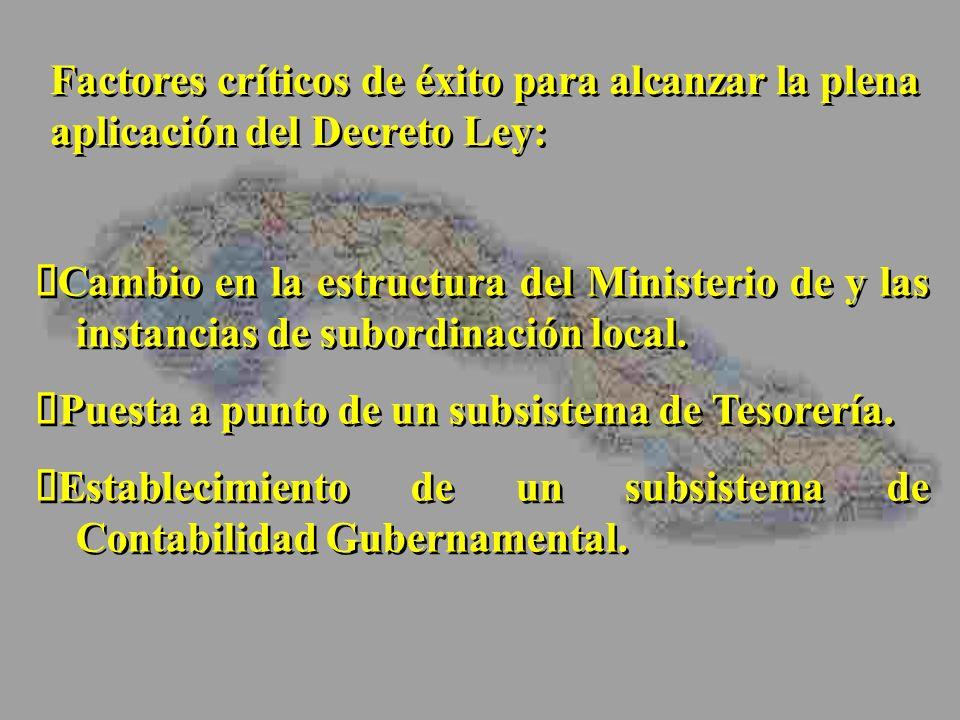 Cambio en la estructura del Ministerio de y las instancias de subordinación local. Puesta a punto de un subsistema de Tesorería. Establecimiento de un