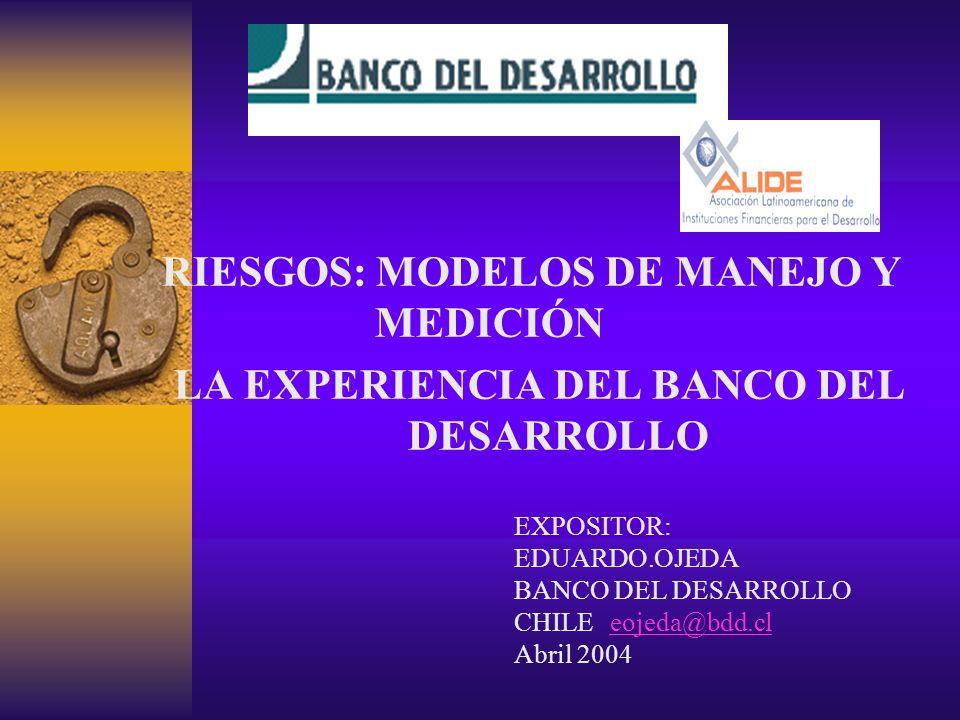 RIESGOS: MODELOS DE MANEJO Y MEDICIÓN LA EXPERIENCIA DEL BANCO DEL DESARROLLO EXPOSITOR: EDUARDO.OJEDA BANCO DEL DESARROLLO CHILEeojeda@bdd.cleojeda@bdd.cl Abril 2004