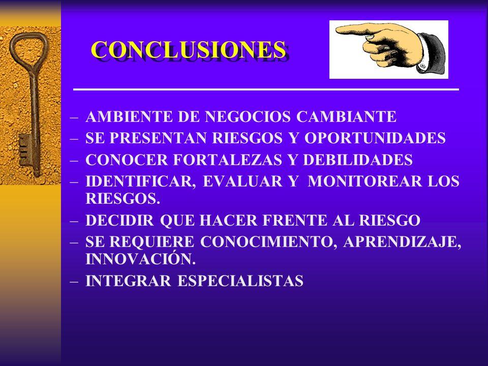 CONCLUSIONES –AMBIENTE DE NEGOCIOS CAMBIANTE –SE PRESENTAN RIESGOS Y OPORTUNIDADES –CONOCER FORTALEZAS Y DEBILIDADES –IDENTIFICAR, EVALUAR Y MONITOREAR LOS RIESGOS.