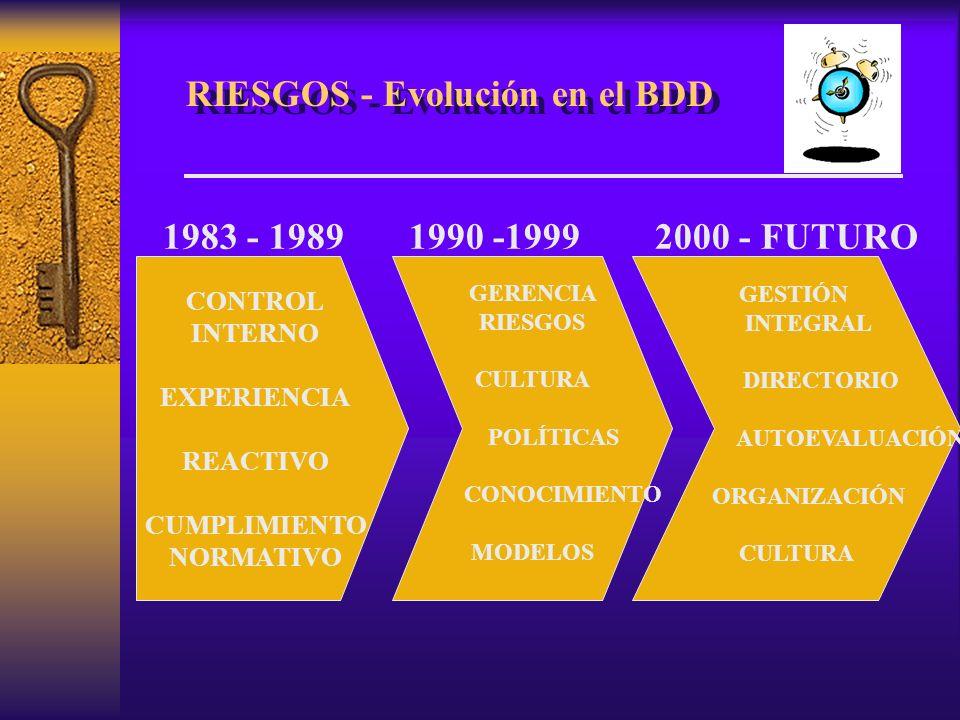 RIESGOS - Evolución en el BDD 1983 - 1989 1990 -1999 2000 - FUTURO CONTROL INTERNO EXPERIENCIA REACTIVO CUMPLIMIENTO NORMATIVO GERENCIA RIESGOS CULTURA POLÍTICAS CONOCIMIENTO MODELOS GESTIÓN INTEGRAL DIRECTORIO AUTOEVALUACIÓN ORGANIZACIÓN CULTURA