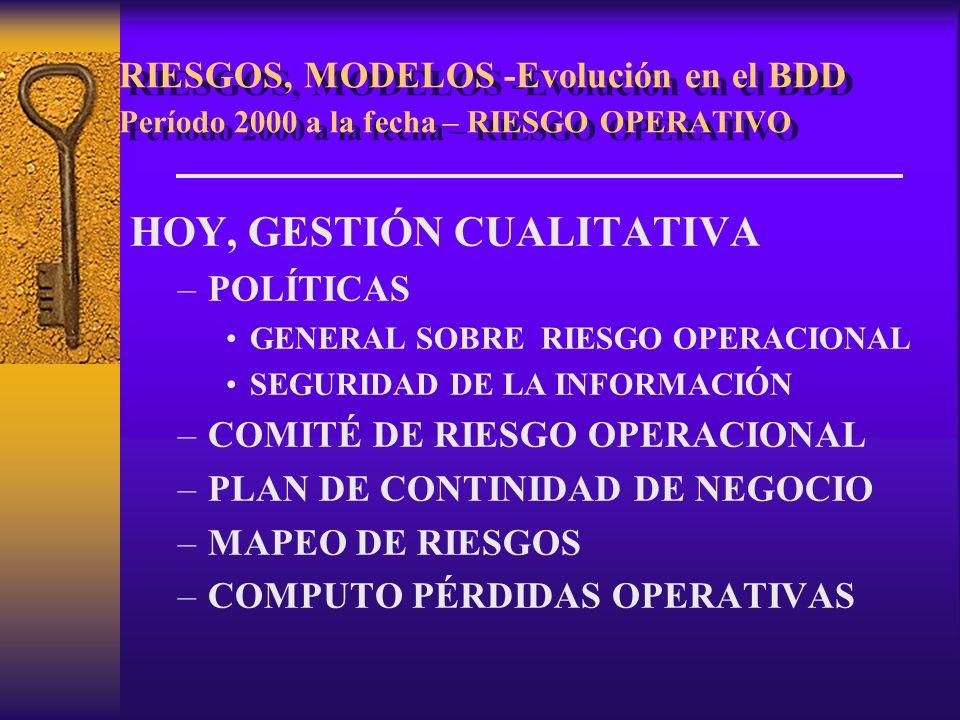 RIESGOS, MODELOS -Evolución en el BDD Período 2000 a la fecha – RIESGO OPERATIVO HOY, GESTIÓN CUALITATIVA –POLÍTICAS GENERAL SOBRE RIESGO OPERACIONAL SEGURIDAD DE LA INFORMACIÓN –COMITÉ DE RIESGO OPERACIONAL –PLAN DE CONTINIDAD DE NEGOCIO –MAPEO DE RIESGOS –COMPUTO PÉRDIDAS OPERATIVAS