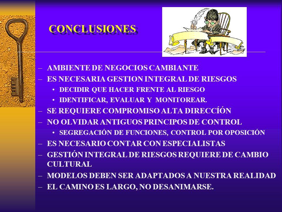 CONCLUSIONES –AMBIENTE DE NEGOCIOS CAMBIANTE –ES NECESARIA GESTION INTEGRAL DE RIESGOS DECIDIR QUE HACER FRENTE AL RIESGO IDENTIFICAR, EVALUAR Y MONITOREAR.
