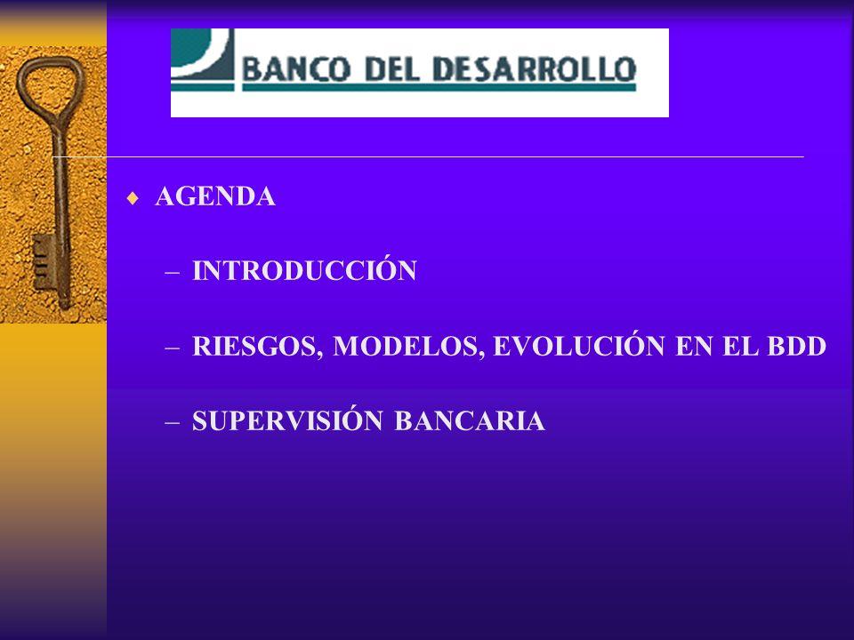 AGENDA –INTRODUCCIÓN –RIESGOS, MODELOS, EVOLUCIÓN EN EL BDD –SUPERVISIÓN BANCARIA