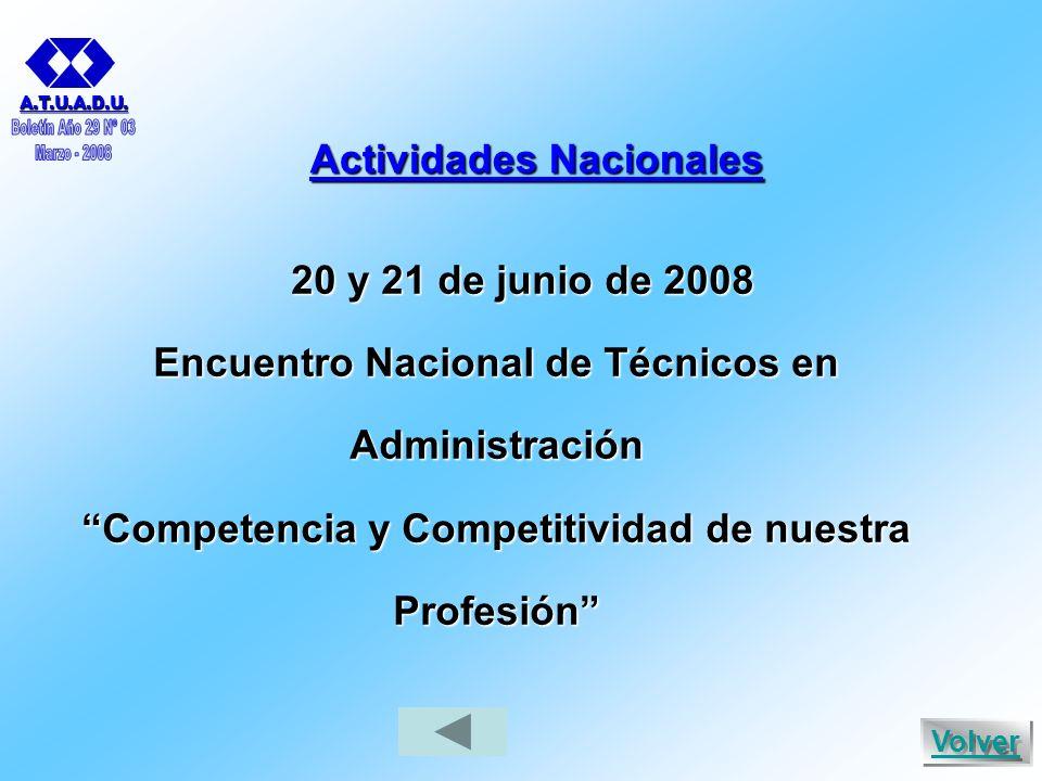 Actividades Nacionales 20 y 21 de junio de 2008 Encuentro Nacional de Técnicos en Administración Competencia y Competitividad de nuestra Profesión A.T.U.A.D.U.