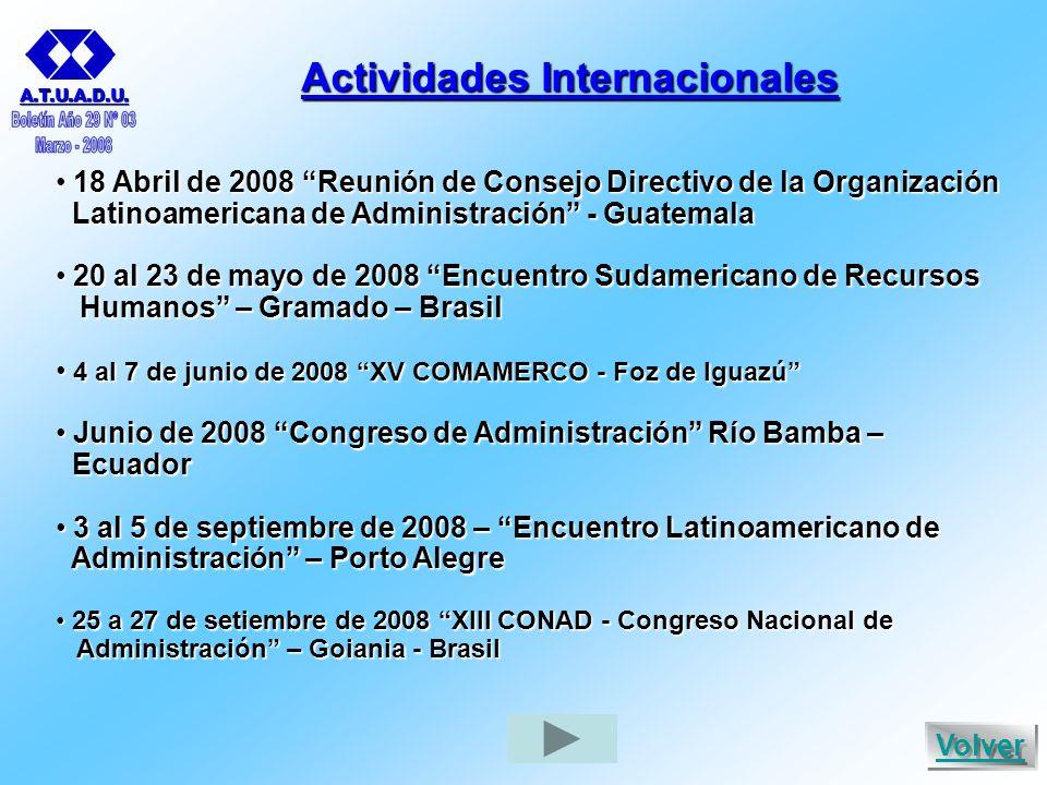 Actividades Internacionales 18 Abril de 2008 Reunión de Consejo Directivo de la Organización 18 Abril de 2008 Reunión de Consejo Directivo de la Organización Latinoamericana de Administración - Guatemala Latinoamericana de Administración - Guatemala 20 al 23 de mayo de 2008 Encuentro Sudamericano de Recursos 20 al 23 de mayo de 2008 Encuentro Sudamericano de Recursos Humanos – Gramado – Brasil Humanos – Gramado – Brasil 4 al 7 de junio de 2008 XV COMAMERCO - Foz de Iguazú 4 al 7 de junio de 2008 XV COMAMERCO - Foz de Iguazú Junio de 2008 Congreso de Administración Río Bamba – Junio de 2008 Congreso de Administración Río Bamba – Ecuador Ecuador 3 al 5 de septiembre de 2008 – Encuentro Latinoamericano de 3 al 5 de septiembre de 2008 – Encuentro Latinoamericano de Administración – Porto Alegre Administración – Porto Alegre 25 a 27 de setiembre de 2008 XIII CONAD - Congreso Nacional de 25 a 27 de setiembre de 2008 XIII CONAD - Congreso Nacional de Administración – Goiania - Brasil Administración – Goiania - Brasil A.T.U.A.D.U.
