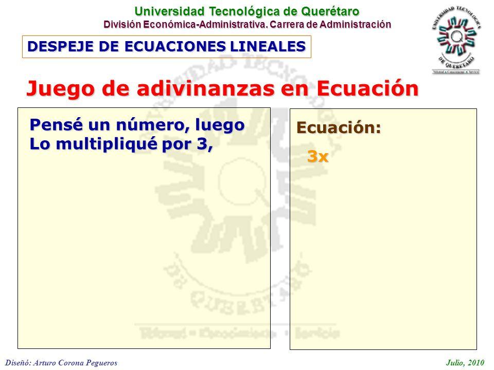Universidad Tecnológica de Querétaro División Económica-Administrativa. Carrera de Administración Diseñó: Arturo Corona PeguerosJulio, 2010 DESPEJE DE