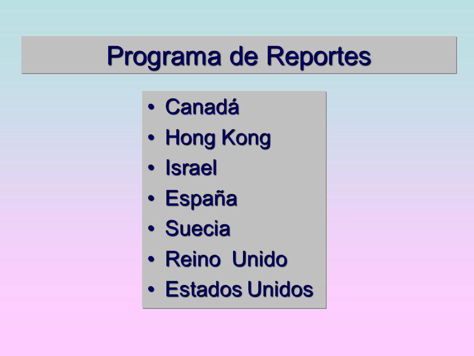 Programa de Reportes CanadáCanadá Hong KongHong Kong IsraelIsrael EspañaEspaña SueciaSuecia Reino UnidoReino Unido Estados UnidosEstados Unidos