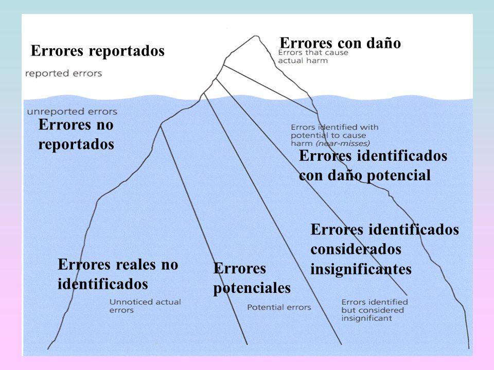 Errores reportados Errores con daño Errores no reportados Errores identificados con daño potencial Errores reales no identificados Errores potenciales