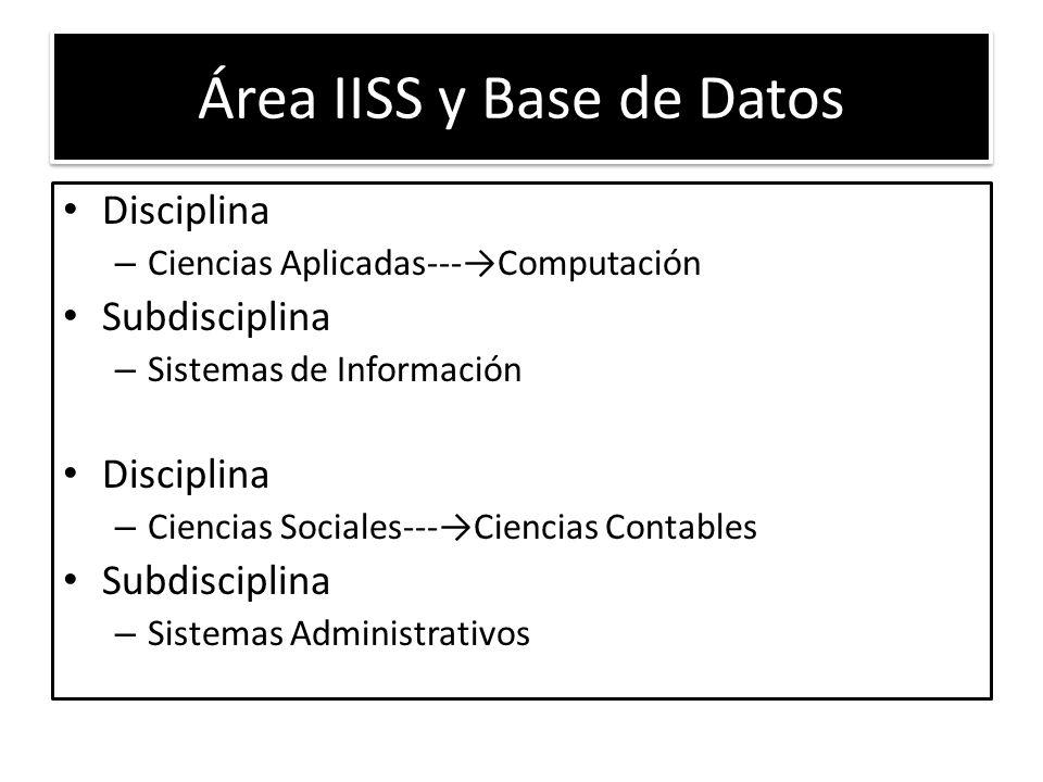 Área IISS y Base de Datos Disciplina – Ciencias Aplicadas---Computación Subdisciplina – Sistemas de Información Disciplina – Ciencias Sociales---Ciencias Contables Subdisciplina – Sistemas Administrativos