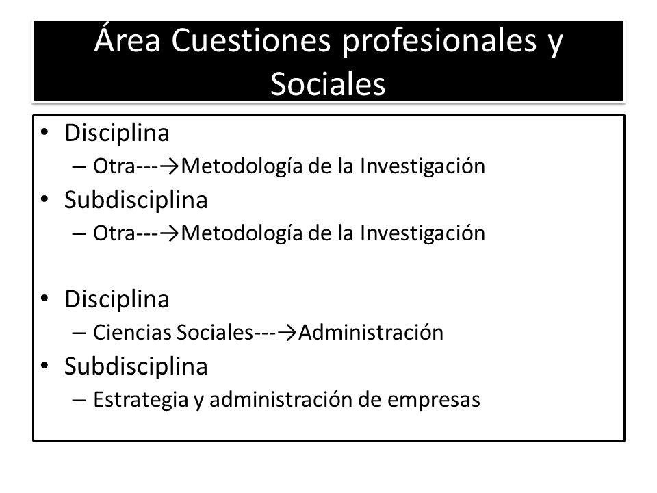 Área Cuestiones profesionales y Sociales Disciplina – Otra---Metodología de la Investigación Subdisciplina – Otra---Metodología de la Investigación Disciplina – Ciencias Sociales---Administración Subdisciplina – Estrategia y administración de empresas