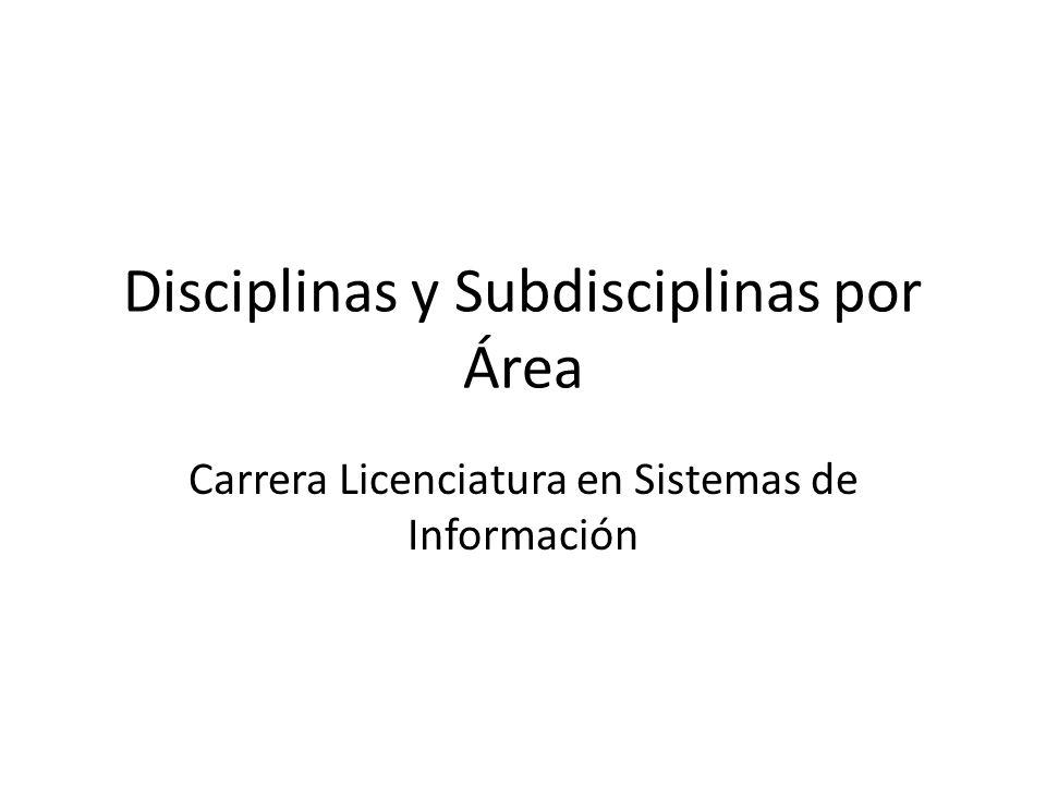 Disciplinas y Subdisciplinas por Área Carrera Licenciatura en Sistemas de Información