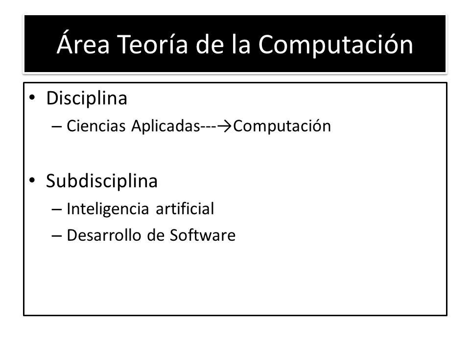 Área Teoría de la Computación Disciplina – Ciencias Aplicadas---Computación Subdisciplina – Inteligencia artificial – Desarrollo de Software
