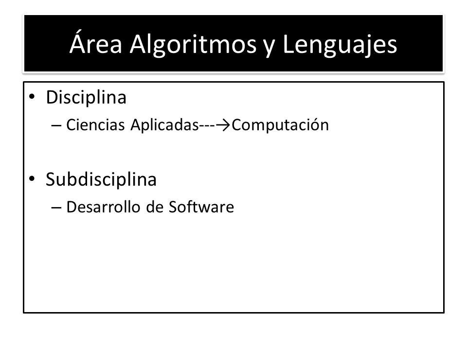 Área Algoritmos y Lenguajes Disciplina – Ciencias Aplicadas---Computación Subdisciplina – Desarrollo de Software