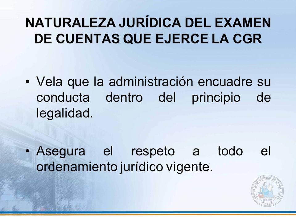 NATURALEZA JURÍDICA DEL EXAMEN DE CUENTAS QUE EJERCE LA CGR Vela que la administración encuadre su conducta dentro del principio de legalidad. Asegura