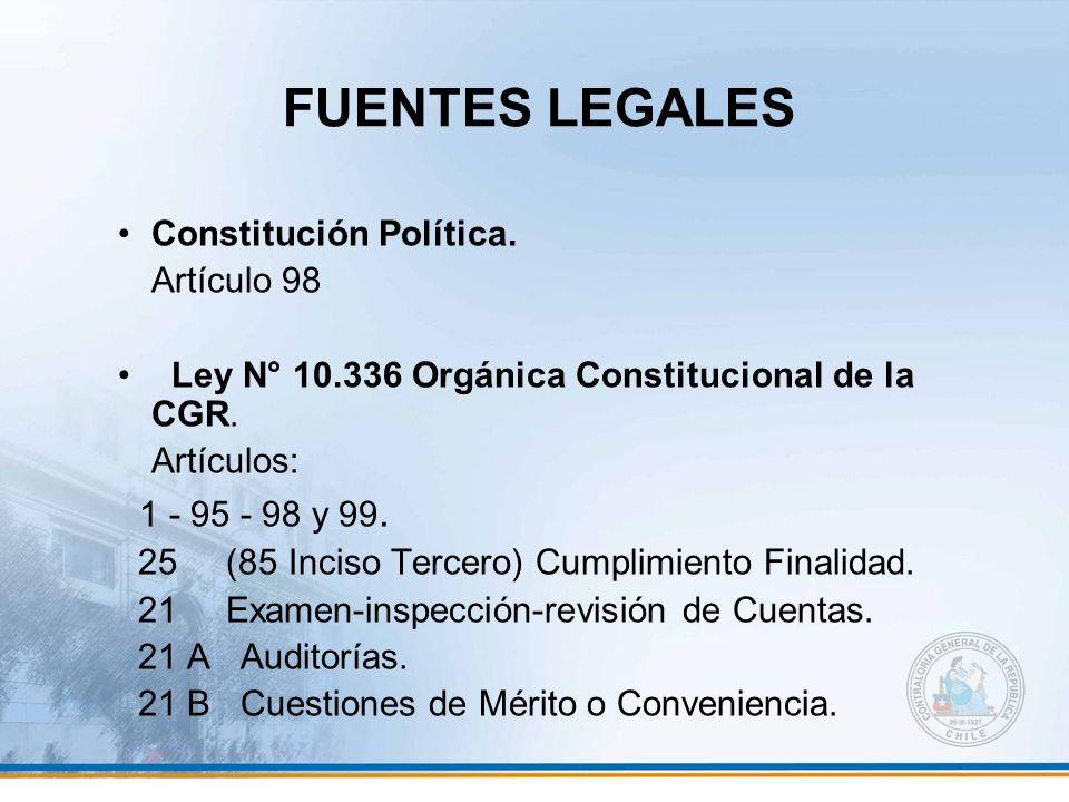 FUENTES LEGALES Constitución Política. Artículo 98 Ley N° 10.336 Orgánica Constitucional de la CGR. Artículos: 1 - 95 - 98 y 99. 25 (85 Inciso Tercero