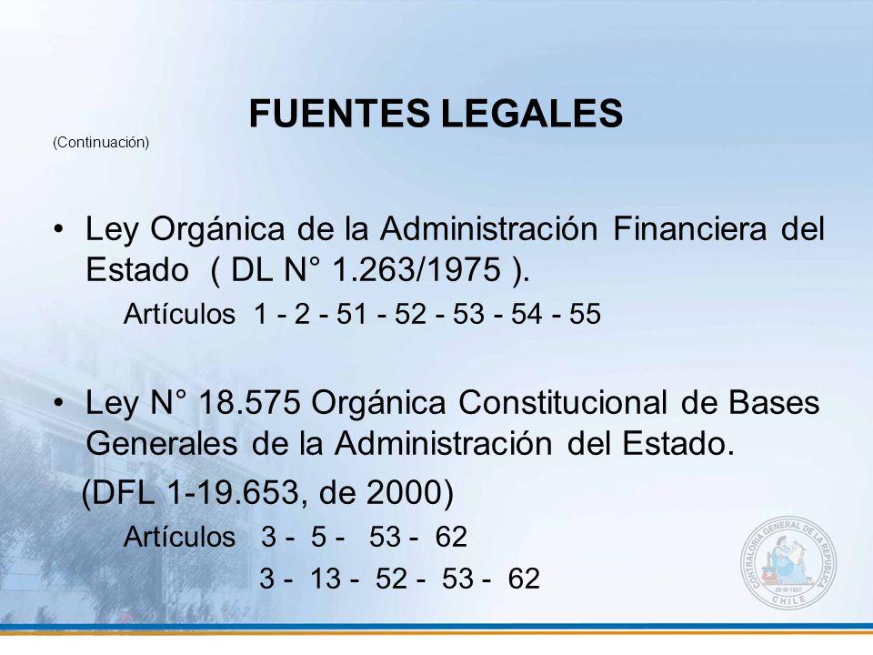 FUENTES LEGALES (Continuación) Ley Orgánica de la Administración Financiera del Estado ( DL N° 1.263/1975 ). Artículos 1 - 2 - 51 - 52 - 53 - 54 - 55