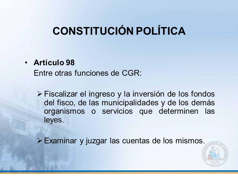 CONSTITUCIÓN POLÍTICA Artículo 98 Entre otras funciones de CGR: Fiscalizar el ingreso y la inversión de los fondos del fisco, de las municipalidades y