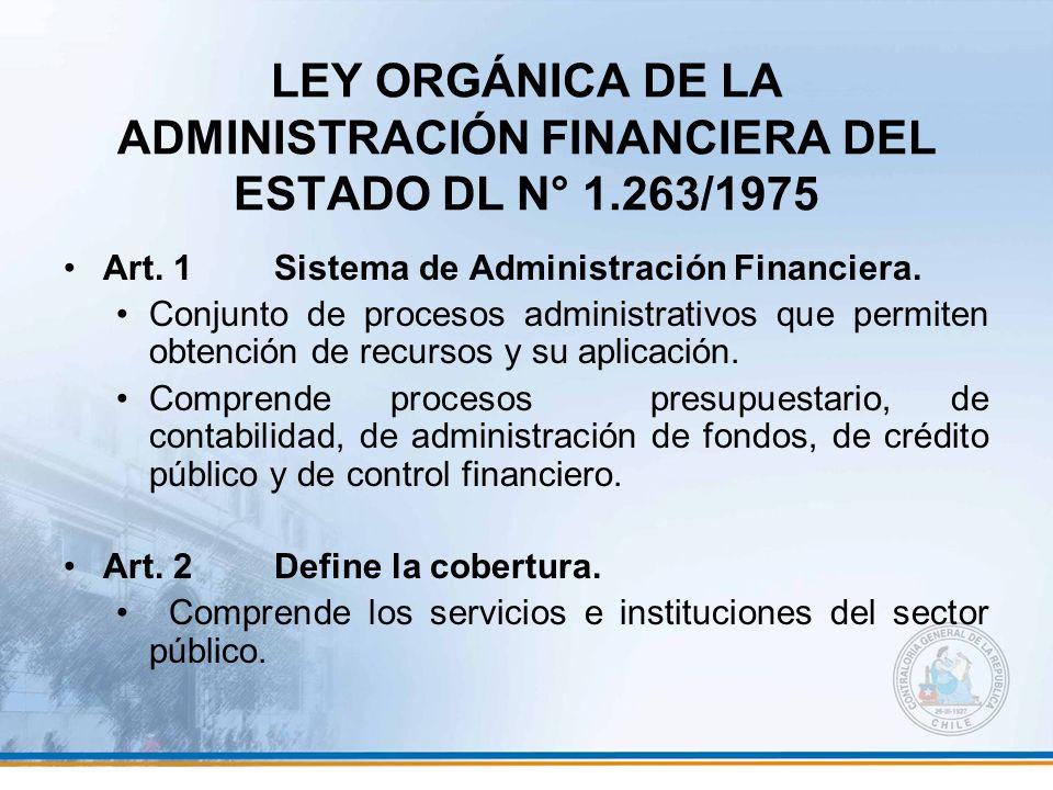 LEY ORGÁNICA DE LA ADMINISTRACIÓN FINANCIERA DEL ESTADO DL N° 1.263/1975 Art. 1Sistema de Administración Financiera. Conjunto de procesos administrati