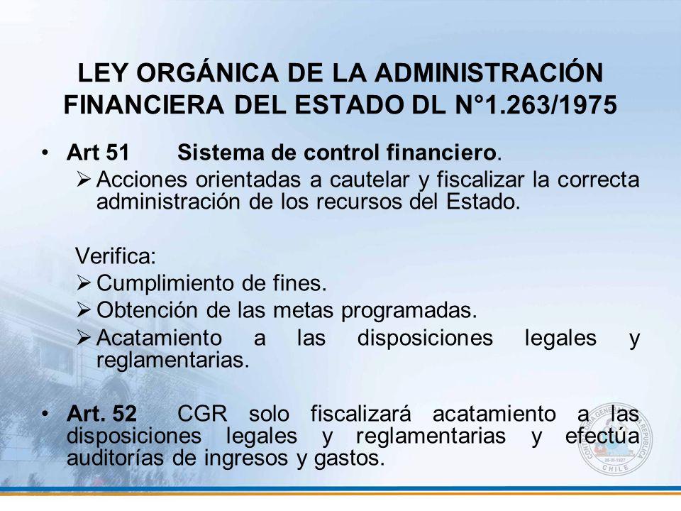 LEY ORGÁNICA DE LA ADMINISTRACIÓN FINANCIERA DEL ESTADO DL N°1.263/1975 Art 51Sistema de control financiero. Acciones orientadas a cautelar y fiscaliz