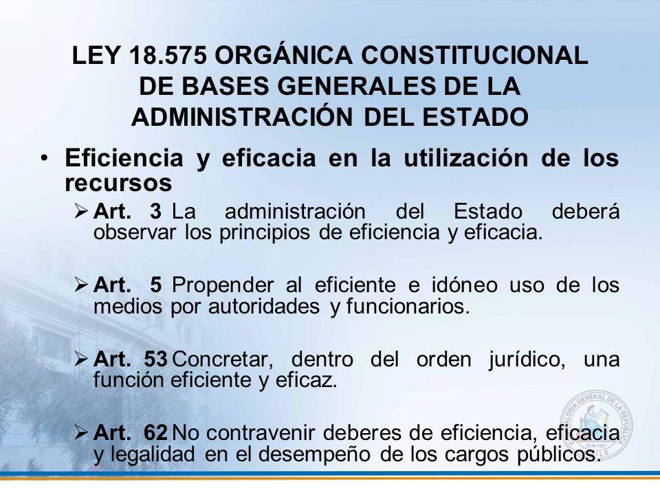 LEY 18.575 ORGÁNICA CONSTITUCIONAL DE BASES GENERALES DE LA ADMINISTRACIÓN DEL ESTADO Eficiencia y eficacia en la utilización de los recursos Art. 3La