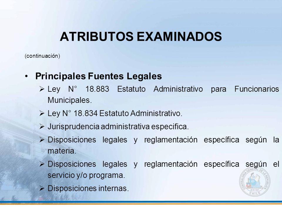 ATRIBUTOS EXAMINADOS (continuación) Principales Fuentes Legales Ley N° 18.883 Estatuto Administrativo para Funcionarios Municipales. Ley N° 18.834 Est
