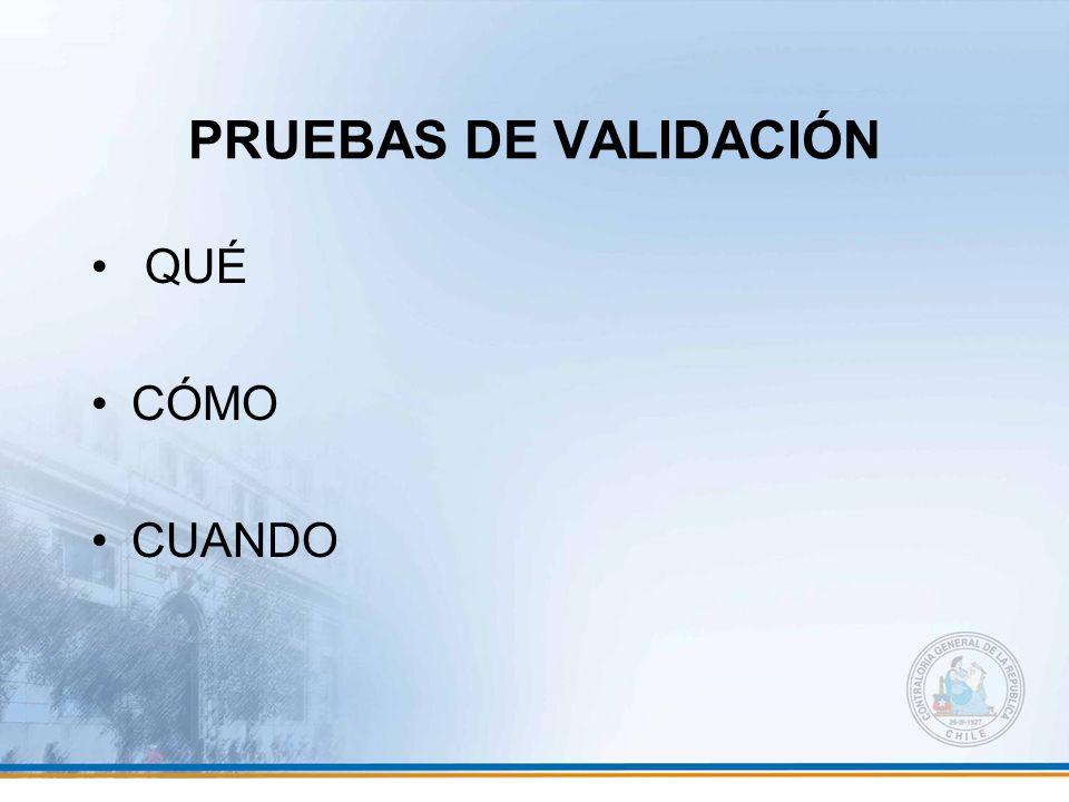 PRUEBAS DE VALIDACIÓN QUÉ CÓMO CUANDO