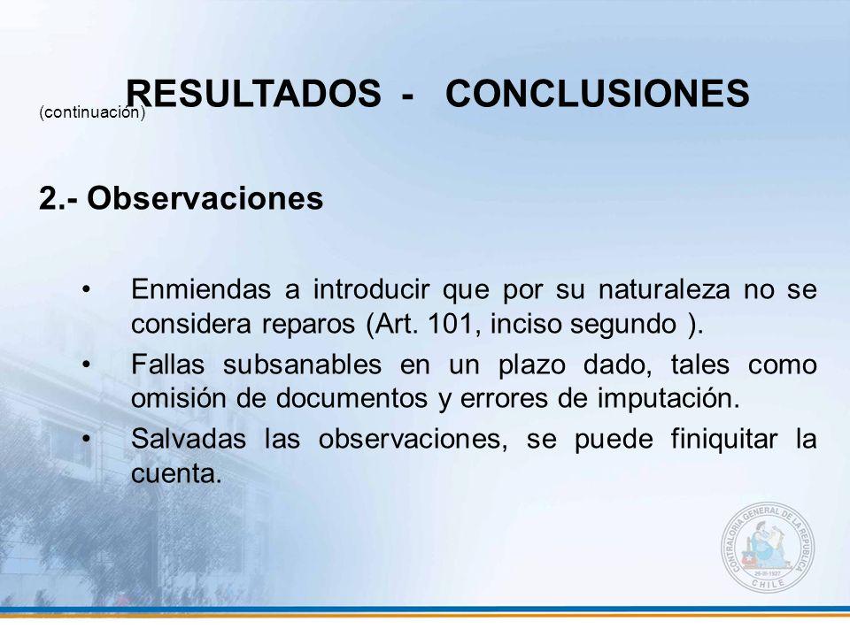 (continuación) 2.- Observaciones Enmiendas a introducir que por su naturaleza no se considera reparos (Art. 101, inciso segundo ). Fallas subsanables