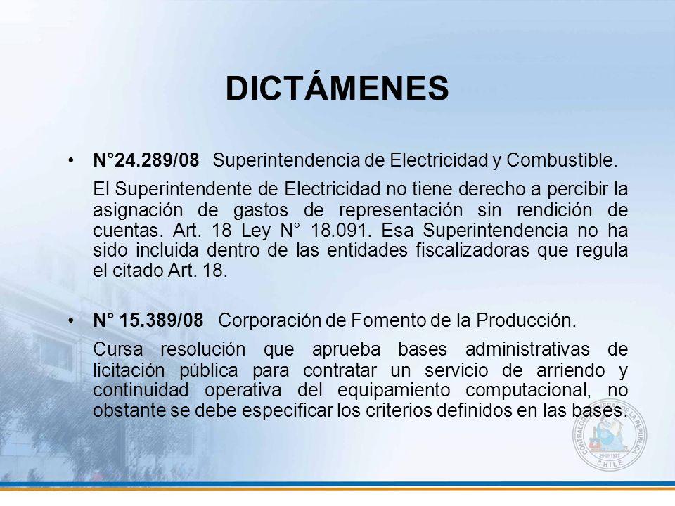 DICTÁMENES N°24.289/08 Superintendencia de Electricidad y Combustible. El Superintendente de Electricidad no tiene derecho a percibir la asignación de