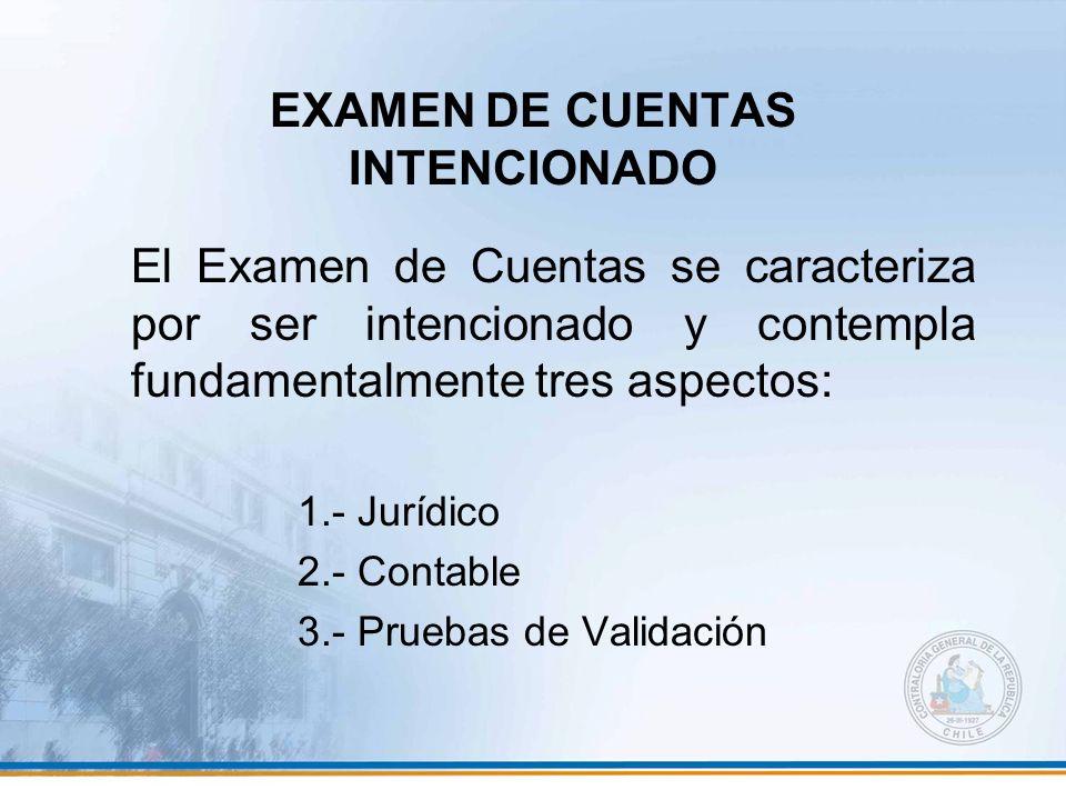 EXAMEN DE CUENTAS INTENCIONADO El Examen de Cuentas se caracteriza por ser intencionado y contempla fundamentalmente tres aspectos: 1.- Jurídico 2.- C