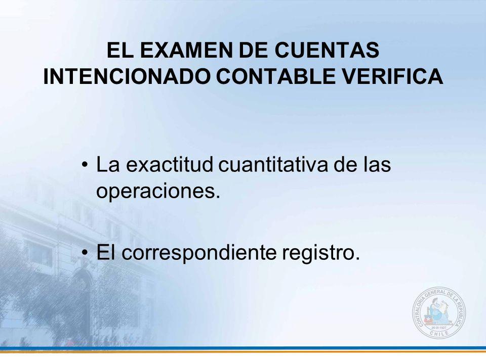 EL EXAMEN DE CUENTAS INTENCIONADO CONTABLE VERIFICA La exactitud cuantitativa de las operaciones. El correspondiente registro.