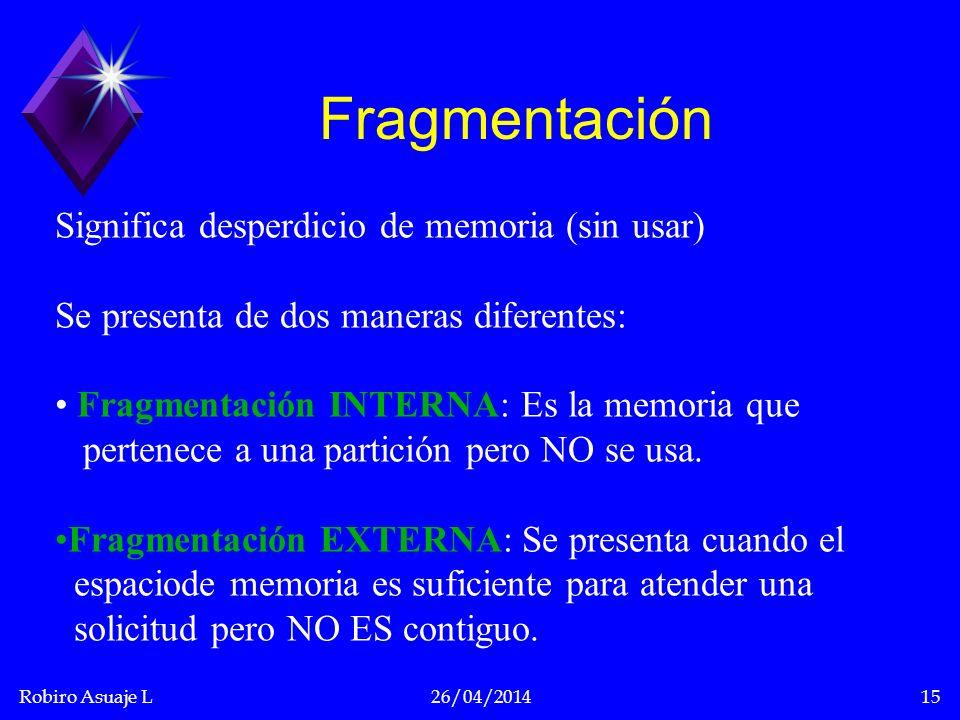 Robiro Asuaje L26/04/201415 Fragmentación Significa desperdicio de memoria (sin usar) Se presenta de dos maneras diferentes: Fragmentación INTERNA: Es