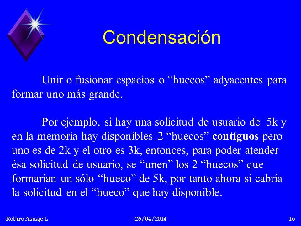 Robiro Asuaje L26/04/201416 Condensación Unir o fusionar espacios o huecos adyacentes para formar uno más grande. Por ejemplo, si hay una solicitud de