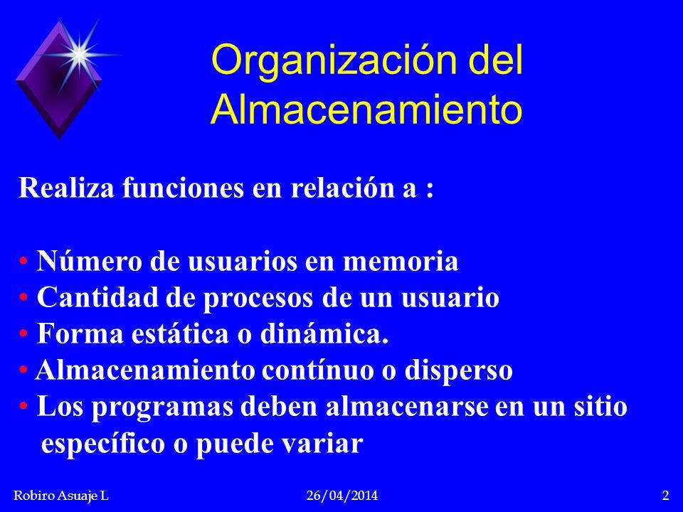 Robiro Asuaje L26/04/20142 Organización del Almacenamiento Realiza funciones en relación a : Número de usuarios en memoria Cantidad de procesos de un