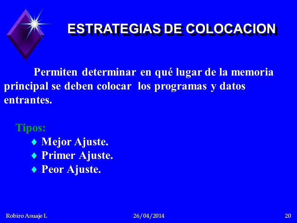 Robiro Asuaje L26/04/201420 Permiten determinar en qué lugar de la memoria principal se deben colocar los programas y datos entrantes. Tipos: Mejor Aj