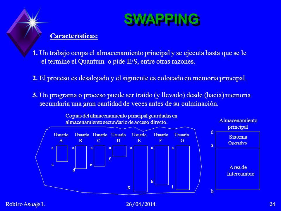 Robiro Asuaje L26/04/201424 Características: 1. Un trabajo ocupa el almacenamiento principal y se ejecuta hasta que se le el termine el Quantum o pide