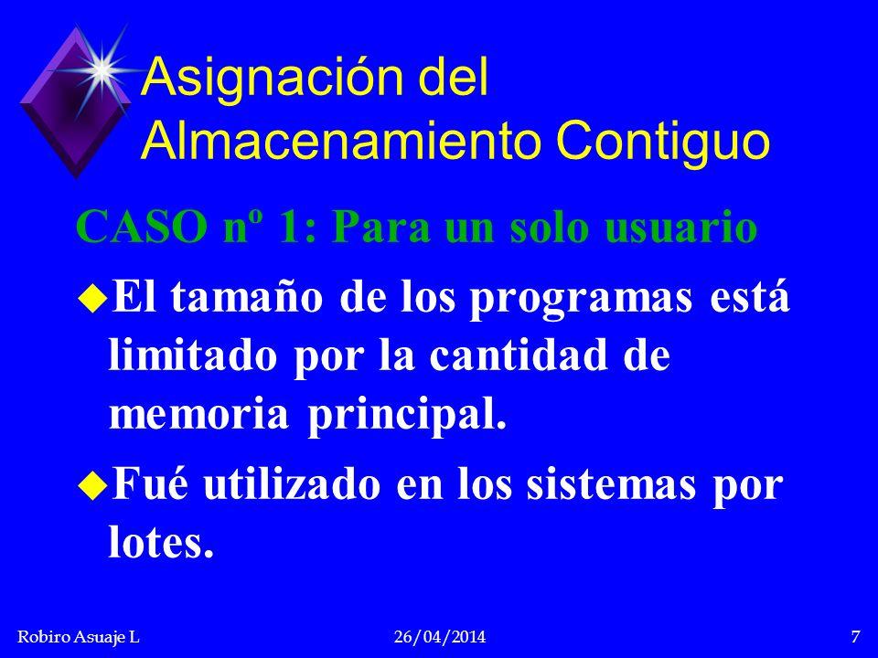 Robiro Asuaje L26/04/20148 SISTEMA OPERATIVO USUARIO NO UTILIZADO 0 a b c Asignación de almacenamiento contiguo para un sólo usuario.