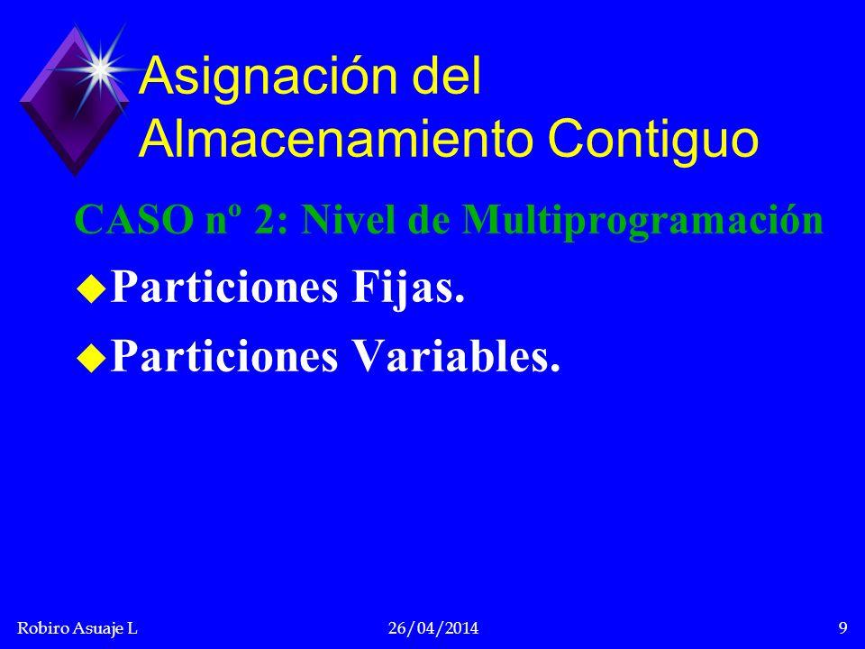 Robiro Asuaje L26/04/20149 Asignación del Almacenamiento Contiguo CASO nº 2: Nivel de Multiprogramación u Particiones Fijas. u Particiones Variables.