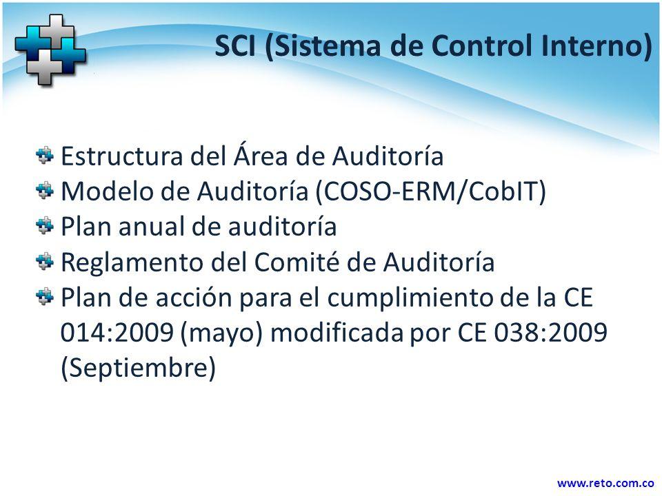 www.reto.com.co SCI (Sistema de Control Interno) Estructura del Área de Auditoría Modelo de Auditoría (COSO-ERM/CobIT) Plan anual de auditoría Reglamento del Comité de Auditoría Plan de acción para el cumplimiento de la CE 014:2009 (mayo) modificada por CE 038:2009 (Septiembre)