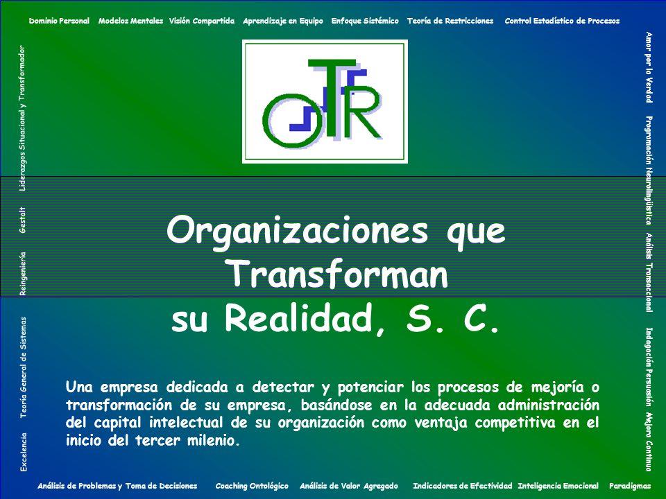 Organizaciones que Transforman su Realidad, S. C. Una empresa dedicada a detectar y potenciar los procesos de mejoría o transformación de su empresa,