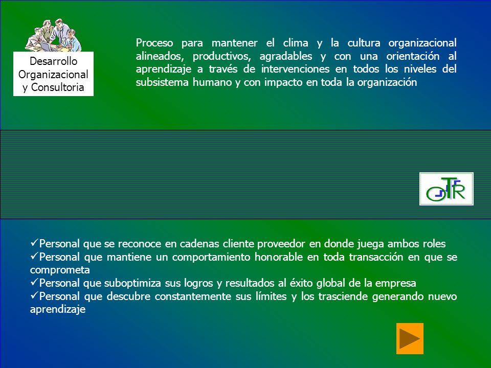 Desarrollo Organizacional y Consultoria Proceso para mantener el clima y la cultura organizacional alineados, productivos, agradables y con una orient