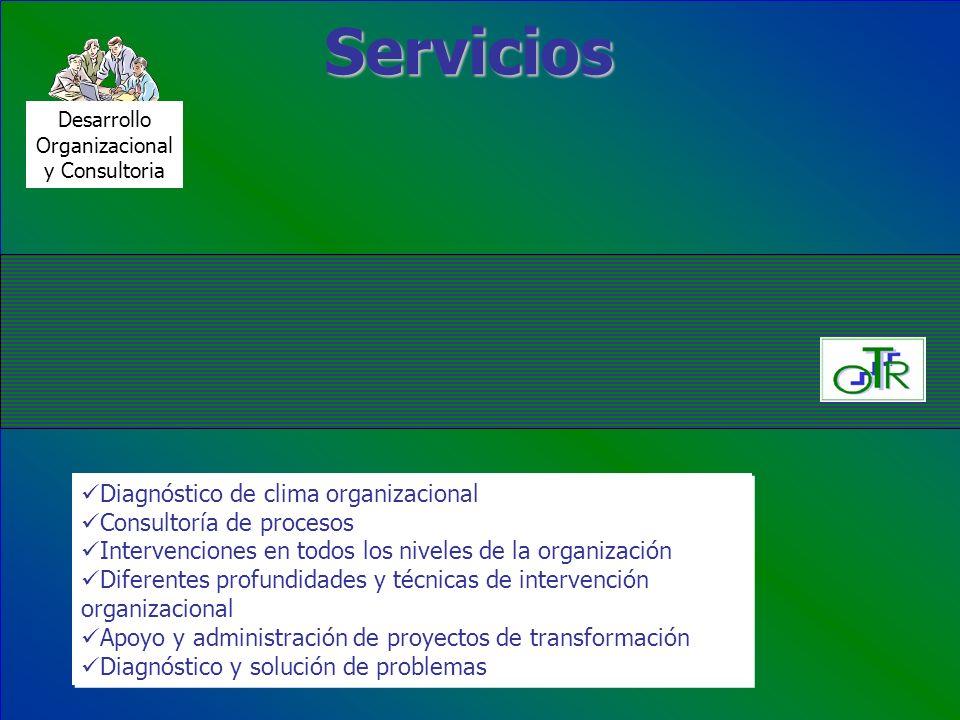 Servicios Desarrollo Organizacional y Consultoria Diagnóstico de clima organizacional Consultoría de procesos Intervenciones en todos los niveles de l